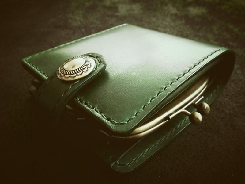 二つ折り財布がま口グリーン1197_Fotor