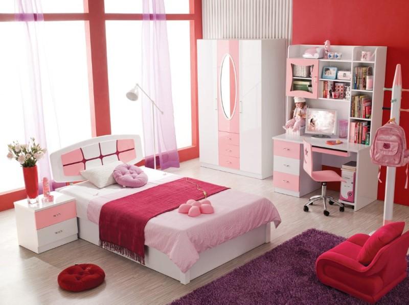 の子供の部屋のセット家具-3ドアワードローブ-ベッド-ナイトスタンド-ライティングデスク-ピンク-白666-