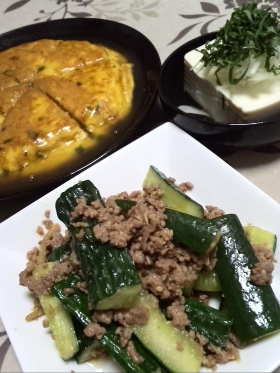 キュウリとひき肉の味噌炒め