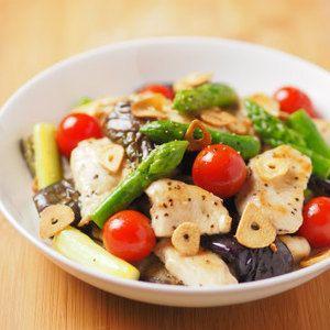 夏野菜のトマトと鶏むね肉のポン酢マリ